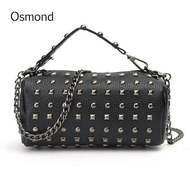 67fc7a8698 Osmond femmes chaîne Rivet sacs à main de luxe sac seau marque petit sac  rond en