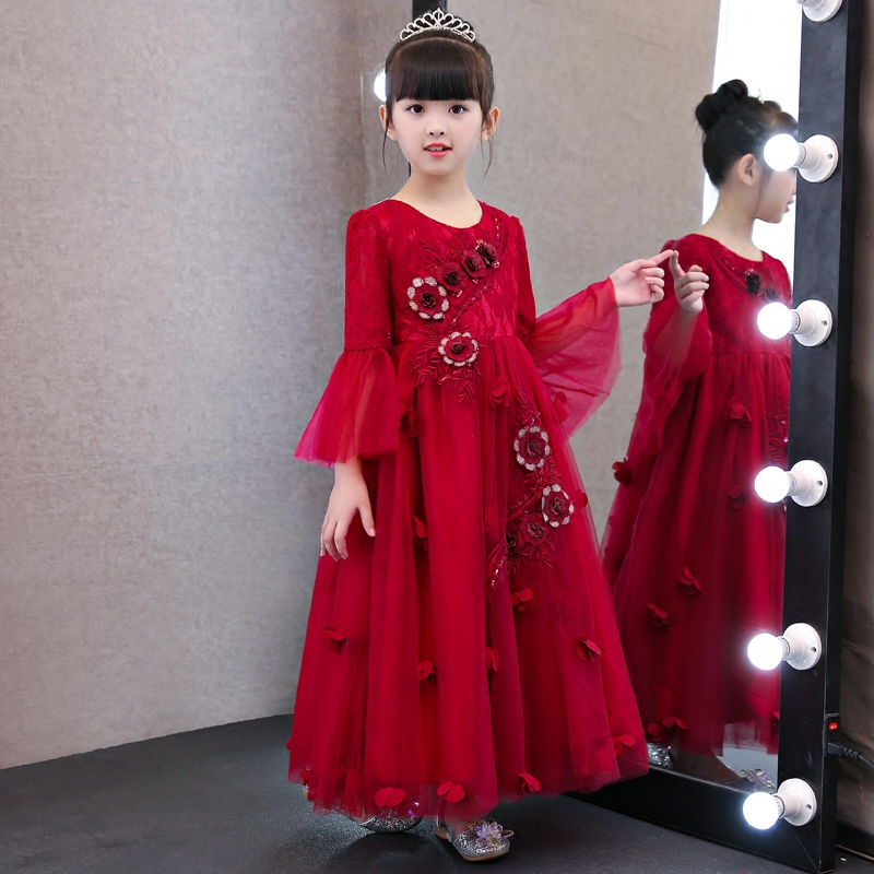 Fashion Elegant Children Girls Flowers Princess Lace Dress Kids Birthday Wedding Holiday Party Long Dress Costume Dress Clothes girls birthday wedding evening party embroidery flowers lace princess dress children kids model show costume pageant long dress