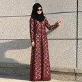 2017 Мусульманского Абая Халат Турецкий Срок годности Взрослых Полиэстер Djellaba Исламская Одежда Для Женщин Новый Длинным Рукавом Кружева Мусульманин