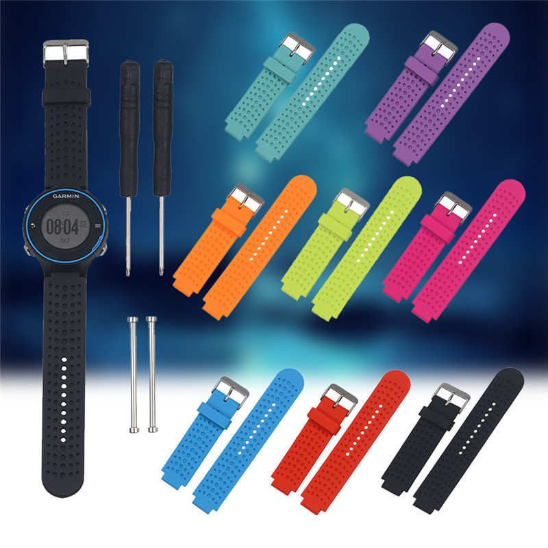 Universal Silicone Colorful Replacement Wrist Watchband Strap For Garmin Forerunner 230/235/630/220/620/735 Smart Band with Tool new 2016metal stainless steel watch band strap for garmin forerunner 220 230 235 630 620 735 high quality 0428