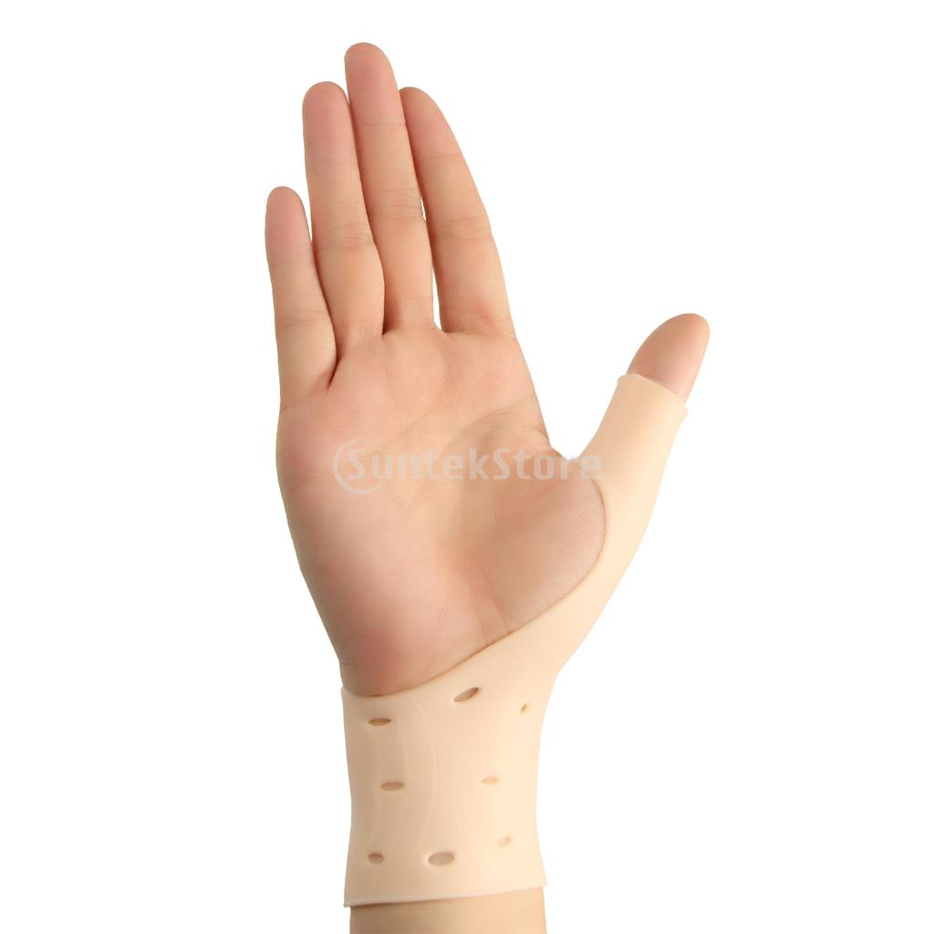 1 Pair Skin Color Silicone Gel Right Left Hand Thumb Wrist Support Gloves Tenosynovitis Spasms Braces Wraps Sleeve