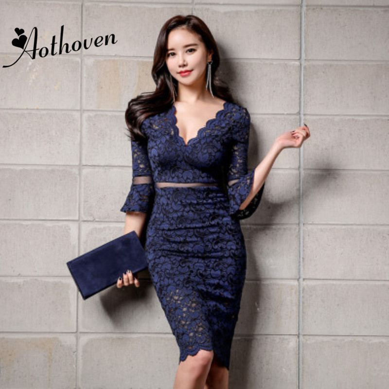 2018 Autumn Blue Beige Dresses V Neck Flare Sleeve Women Dress Lace Office Lady Sexy Party Bodycon Bandage Pencil Dress Vestidos