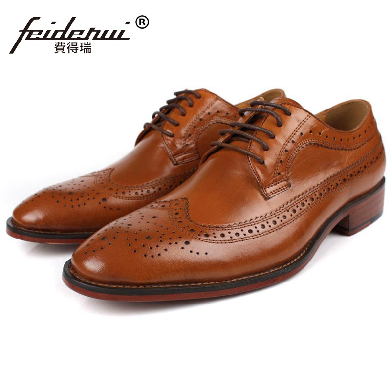 Vintage Brand Man Carved Dress Shoes Top Quality Genuine Leather Cow Brogue Oxfords Round Toe Lace up Men's Wing Tip Flats BD08 ruimosi high quality wing tip man dress