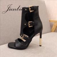 Junbie Hot Genuine Leather Gold Metal Heel Summer Autumn Sandals Sexy Open Toe Cutout 11CM Women Sandal Boots brand Shoes Women