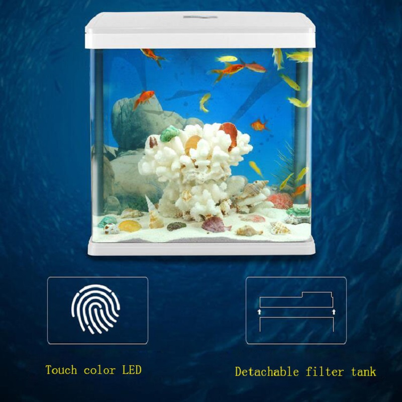 2019 new high tech Touch discoloration LED fish tank Desktop ecological landscape goldfish aquarium tank 15w