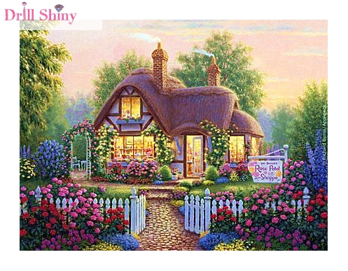 Diy 5D Diamond Painting Scenic Garden House 3D Cross Stitch Kit Full Rhinestone Ribbon Embroidery Landscape Crafts Home Decor