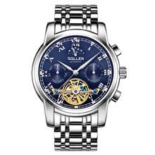 Luxury  SOLLEN Brand Men Watch Male Self-wind Waterproof Stainless Steel Automatic Mechanical Fashion Tourbillon Reloj Hombre недорого
