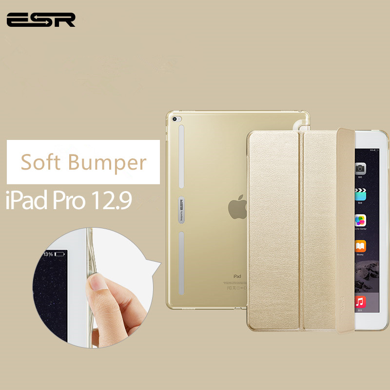 Case for iPad Pro 12.9 inch, ESR Soft TPU Corner Translucent Hybrid Back Cover Auto Wake Smart Cover Case for iPad Pro 12.9 2015