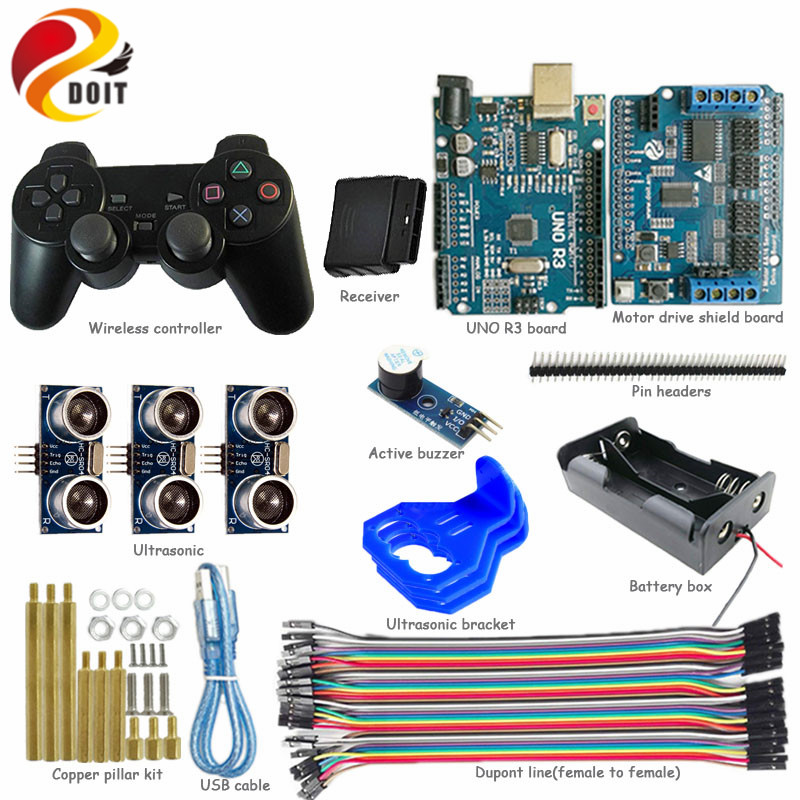 Official DOIT wireless handle control kit for smart robot tank car chassis with Arduino UNO R3 Obstacle Avoidance diy rc toy kit