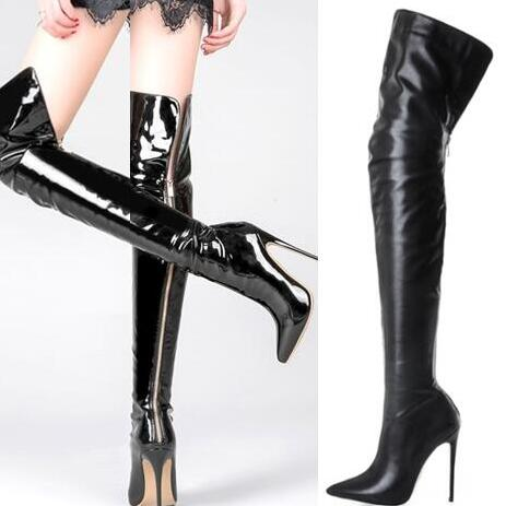 New Spring Sexy Woman Black Patent Leather Zip Back Pointed Toe Thin Heels Over The Knee Slim Thigh High Long Boots Big Size 43New Spring Sexy Woman Black Patent Leather Zip Back Pointed Toe Thin Heels Over The Knee Slim Thigh High Long Boots Big Size 43