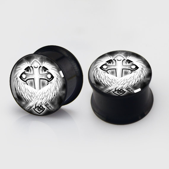 2 pieces Cross Wing Plugs anodized black ear plug gauges steel flesh tunnel body piercing jewelry 1 pair