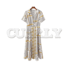CUERLY 2019 women chic chains print midi dress short sleeve turn down collar mid calf dresses female casual retro A line vestido cuerly 2019 women solid pleated shirt dress buttons long sleeve turn down collar female casual mini dresses vintage vestido