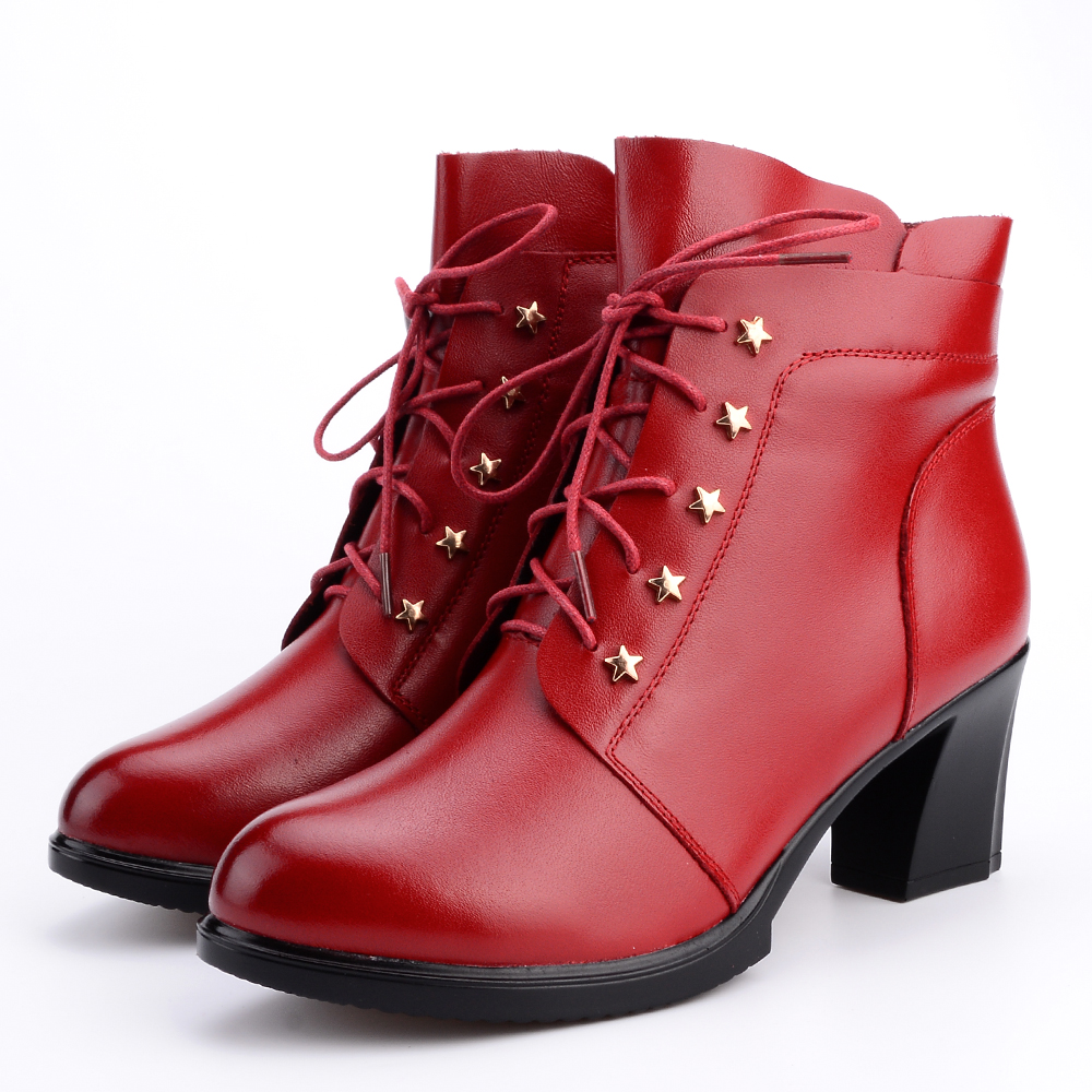 2018 New High-heeled Genuine Leather Women Winter Boots with Warm Plush Ladies Shoes Martin Boots High-quality Female Snow Boots new 2015 woman fashion genuine leather long winter boots ladies high quality warm footwear platform women shoes boots size 33 40