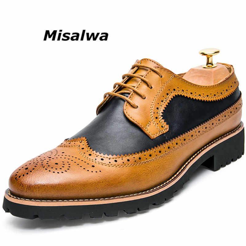 Misalwa男性ブラウン天然皮革formale靴黄色ドレスブローグダービーオックスフォード結婚式ビジネスオフィス靴