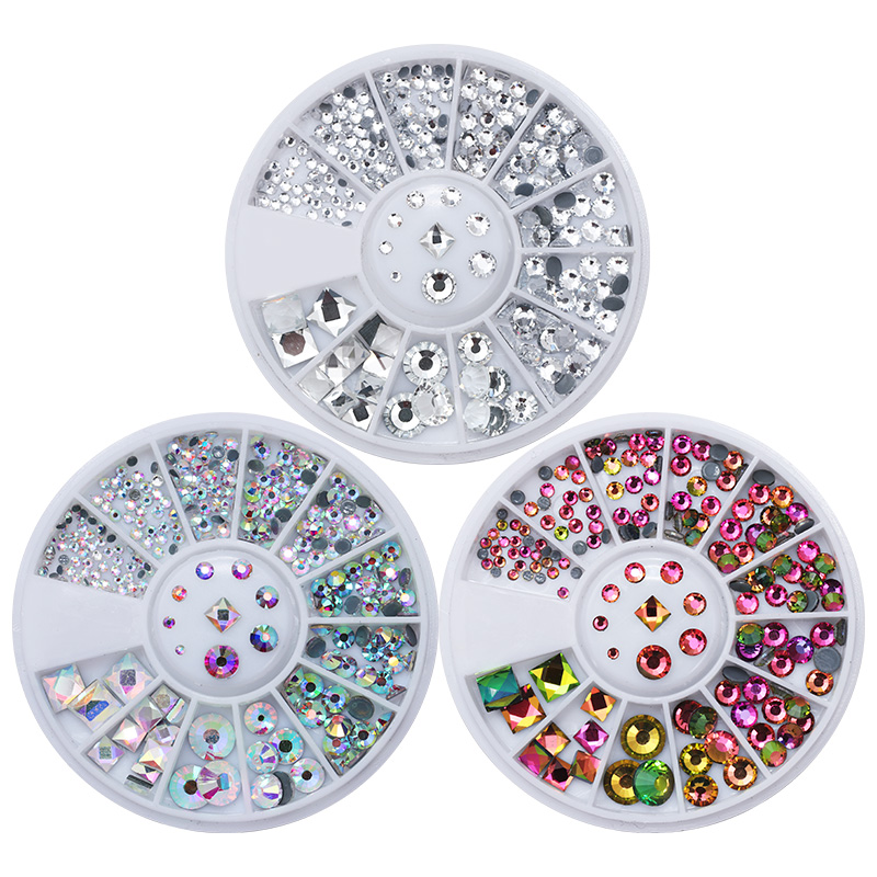 3Boxes AB Color Flame Acrylic Rhinestones Kit Flat Back Round Square Nail Art 3D Decoration in Wheel Manicure Tips Decor opi nail lacquer classic collection an affair in red square цвет an affair in red square variant hex name da0734