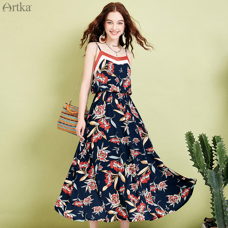 ARTKA 2019 Summer Women Dresses Floral Print Elegant Dress Romantic Chiffon Dress Adjustable Spaghetti Strap Long