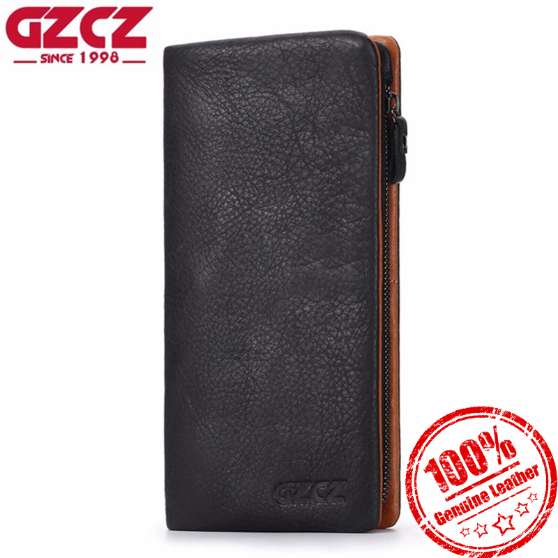 GZCZ Wallet Men Genuine Leather Long Coin Purse Card Holder Men Wallets Zipper Design Male Vallet Clamp For Money Bag billetera