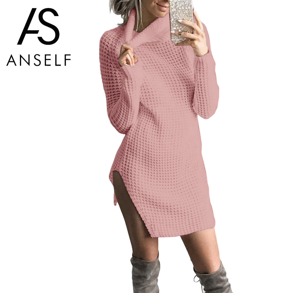 ANSELF 2017 Otoño Invierno Suéter Vestido de Las Mujeres de La ...
