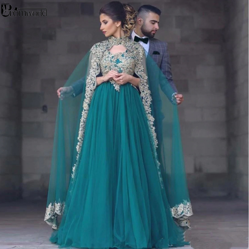 Green Muslim   Evening     Dresses   2019 A-line Tulle Appliques Lace Islamic Dubai Saudi Arabic Long Elegant Formal   Evening   Gown