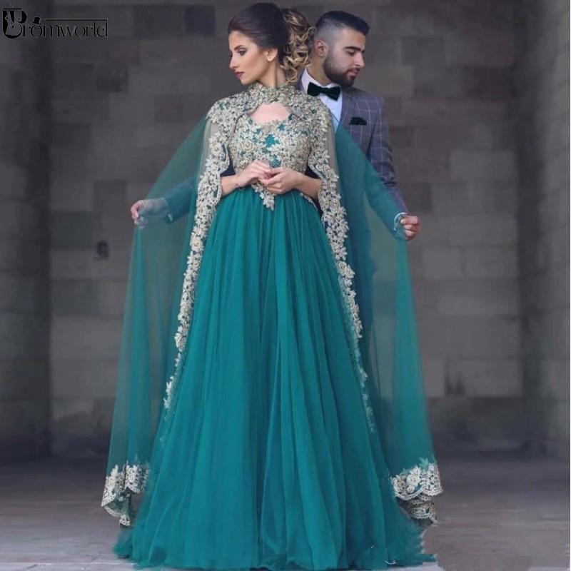 Plus Size Green Muslim Evening Dresses A-line Tulle Appliques Lace Islamic Dubai Saudi Arabic Long Elegant Formal Evening Gown