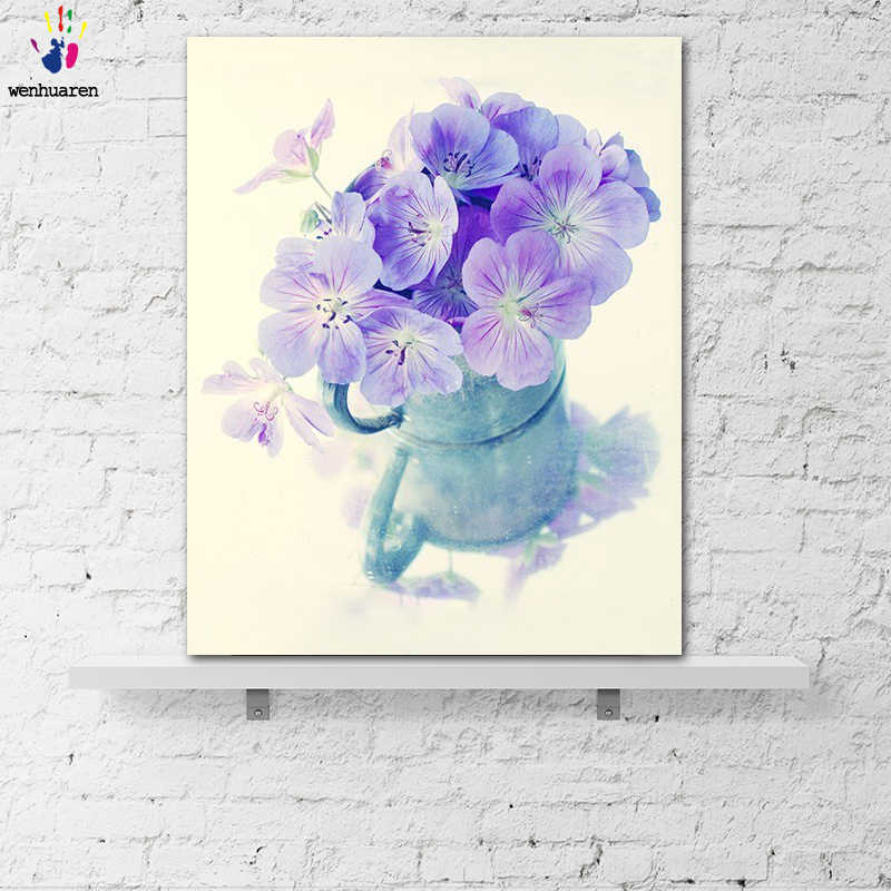 DIY colorings pictures by numbers with colors Beautiful cup flower picture drawing painting by numbers framed Home