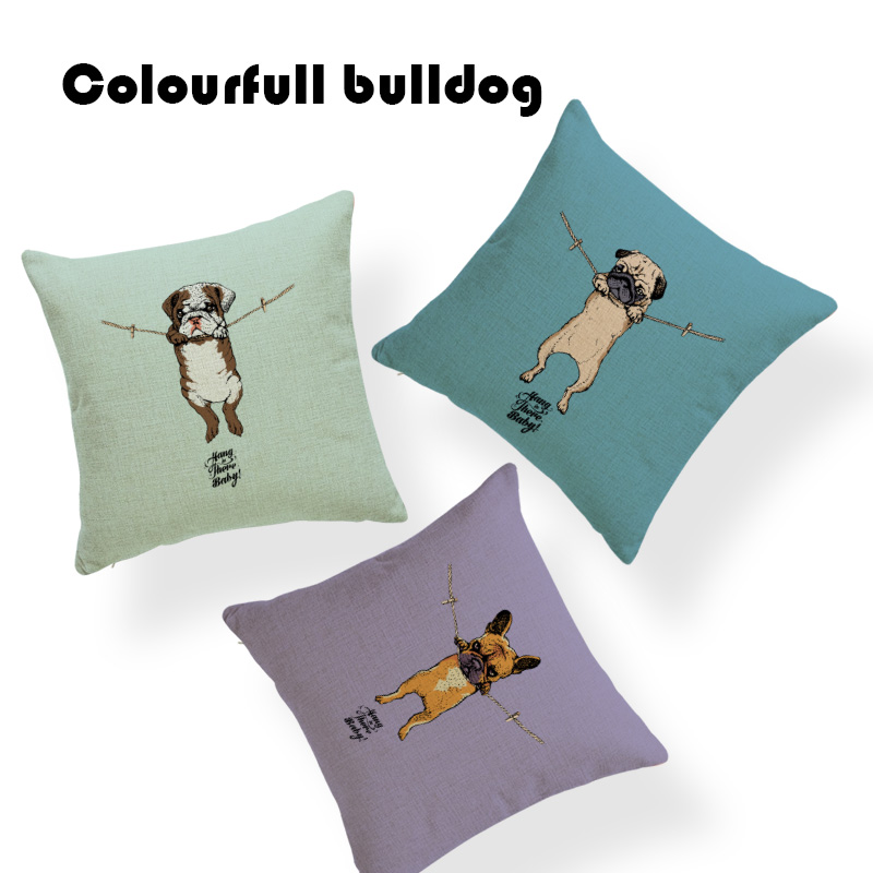 Relax Bulldog Hang There Baby Puppy Pug Cushion Cover Sloth Decorative Yoga 17.7Inch Linen Summer Lumbar Pillow Cover For Sofa