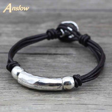 Anslow Men's Leather Bracelet Jewelry Pirate Style Alloy Anchor Bracelet For Male JoyerIa Anclas Pulsera & Brazalete LOW0397LB(China)