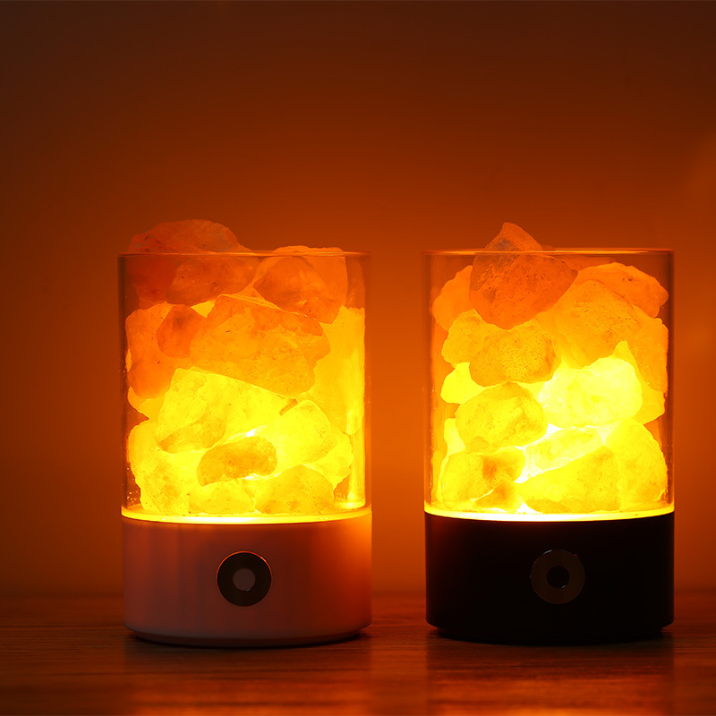 BRIGHTINWD USB Crystal Salt Night Light Himalayan Crystal Salt Lamp Air Purifying Night Light Decorative Colorful Atmosphere