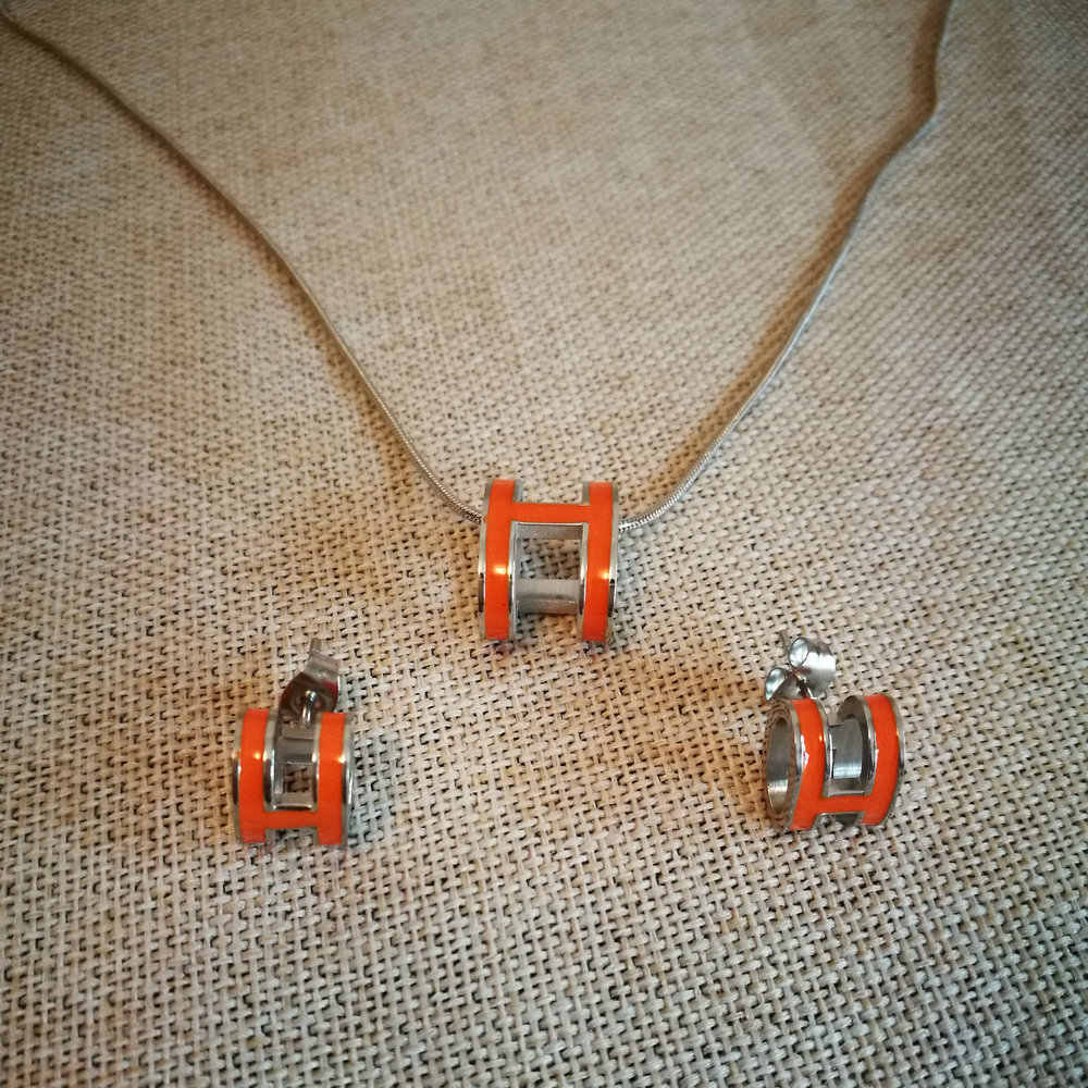 Bilincolor fashion stainless steel rose gold enamel H letter earring and necklace enamel jewelry set for women