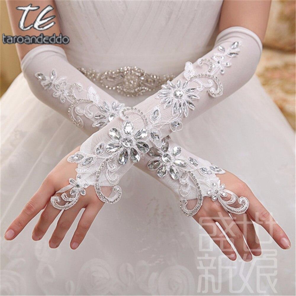 Elegante blanco Fingerless guantes largos de la boda longitud del codo guantes formales mujeres Sparkle moldeado cristalino nupcial guantes