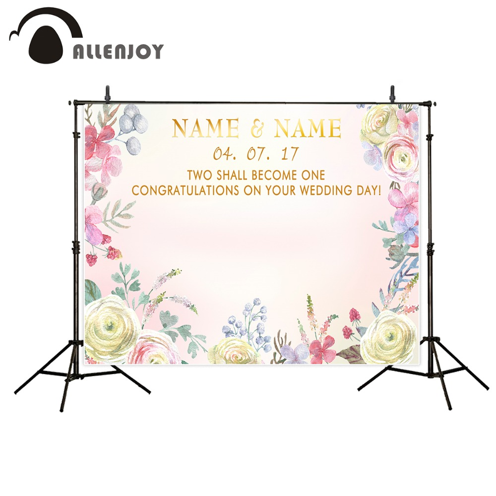 Allenjoy photography photo background Wedding name date flower pink beautiful photo personal custom background for photo studio allenjoy diy wedding photography background romantic love wood board custom name date phrase backdrop photocall