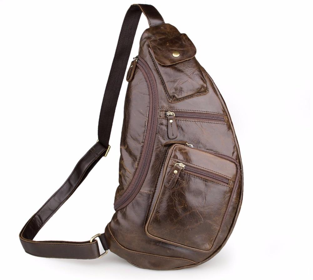 Здесь продается  Augus Chest Bag Large Capacity Cross Body Bag Solid Shoulder Bag Genuine Cow Leather Men