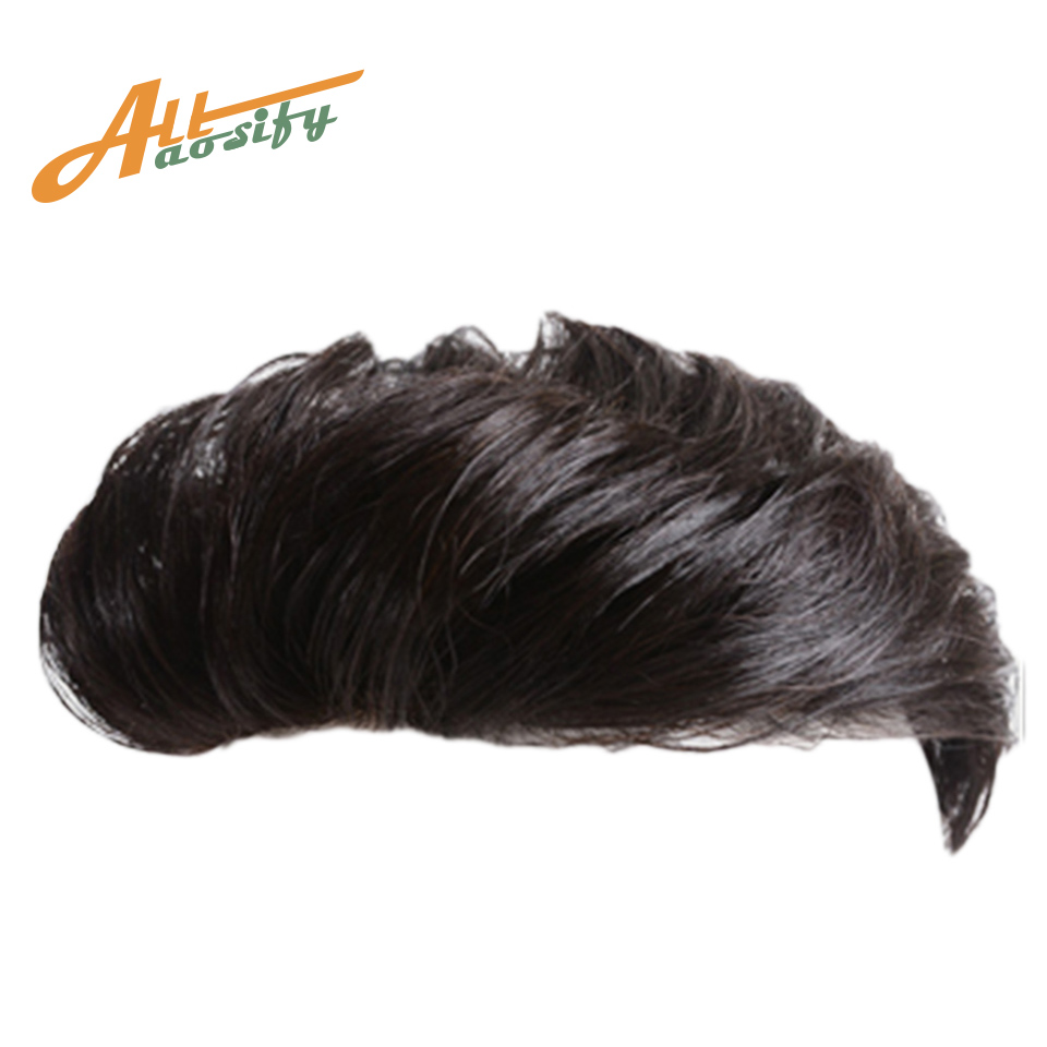 Allaosify Man Toupee Artificial High Temperature Silk Synthesis Material Hair