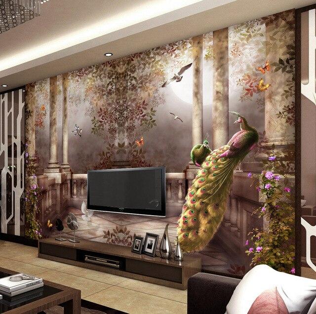3d papel tapiz para paredes de pavo real estilo rococ for Papel tapiz estilo mural
