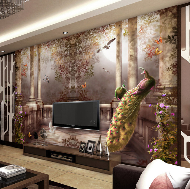 Buy 3d wallpaper for walls peacock wall for Mural art designs for bedroom