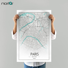 Limited Edition HD Print Customizable Paris City Line Drawing Art Map Canvas Painting Wall Art Picture Home Decor NO Frame