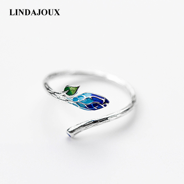 LINDAJOUX 925 Sterling Silver Retro Ethnic Enamel Leaf Open Ring For Women S925