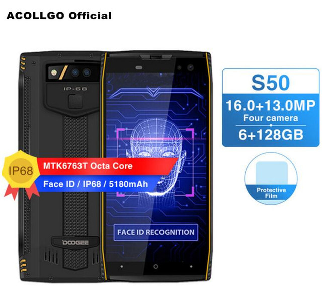 "DOOGEE S50 IP68 Waterproof MTK6763 Octa Core P23 5.7""HD 18:9 6GB+64GB 5180mAh Fast Charge Android 7.1 4 Camera 16MP Mobile Phone"