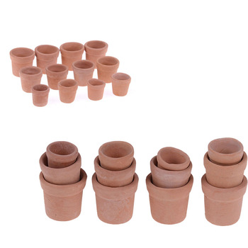 12pcs Mini Flower Pot Model Toy For 1/12 Dollhouse Miniature Accessories Red clay Flowerpot Simulation Garden - discount item  42% OFF Pretend Play
