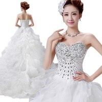 Luxurious Bead Ruffles Wedding Dress Strapless Court Train Bride Attire Vestido De Festa Bandage Maxi Tutu Bridal Veil HS05
