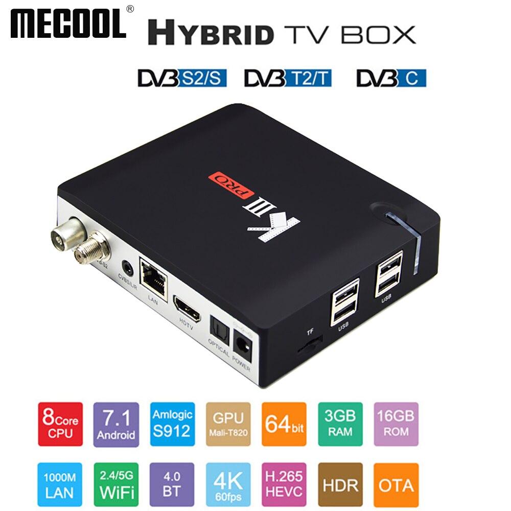 MECOOL 4K HDR smart TV box KIII PRO DVB S2 DVB T2 DVB C Android 7