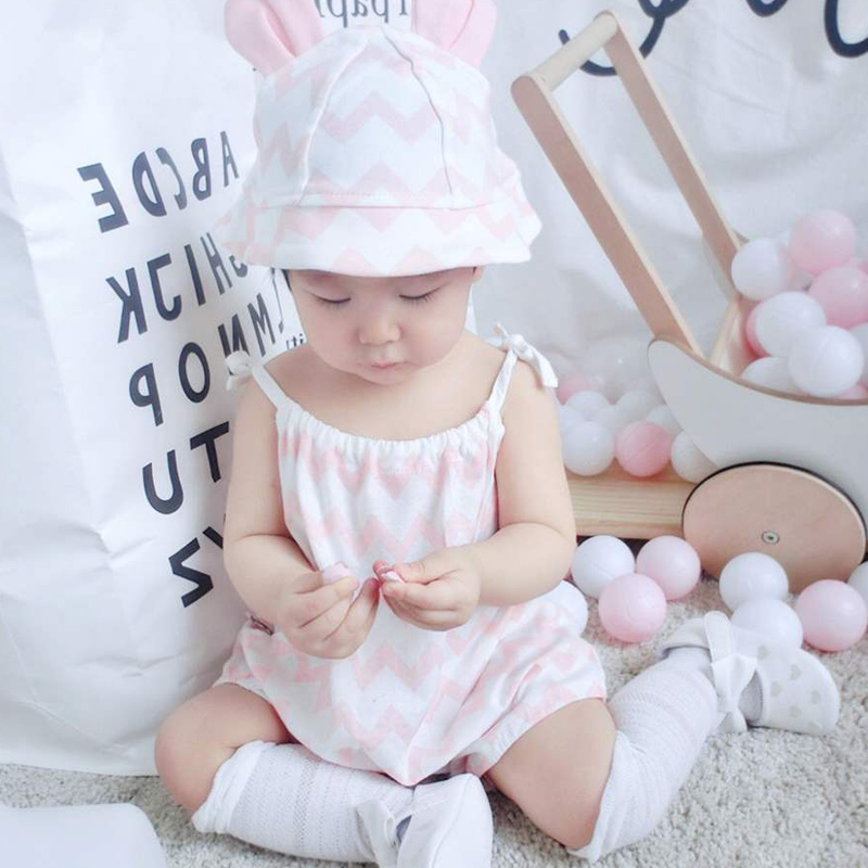 Hot Selling Baby Girls Jumpsuits with Hat Sleeveless Soft Breathable Rompers for Summer(China)