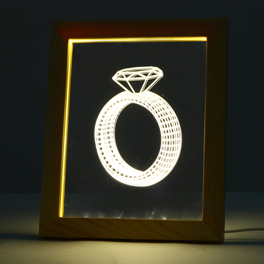 FL-728 3D Photo Frame LED Night Light Wooden Ring Decorative USB Lamp Christmas Gifts for In-Outdoor Fairy Decoration Lights