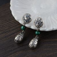 FNJ Tassel Peacock Earrings 925 Silver Flower Original S925 Sterling Silver Drop Earring for Women Jewelry