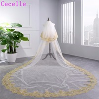 Real Photos 2019 New Luxury White Gold Arabic Long Bridal Veil 2 Layers Gold Lace Edge Cathedral Wedding Veil With Comb HL51