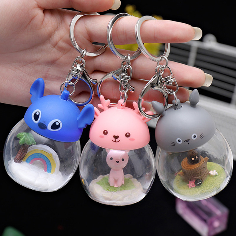 2019 Fashion Creative Light Transparent Cover Keychain Chinchilla Couple Personality Car Pendant Keychain Cute Cat Keychain