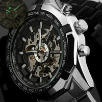 Winner Brand Luxury Sport Men S Automatic Skeleton Mechanical Military Watch Men Silver Full Steel Band