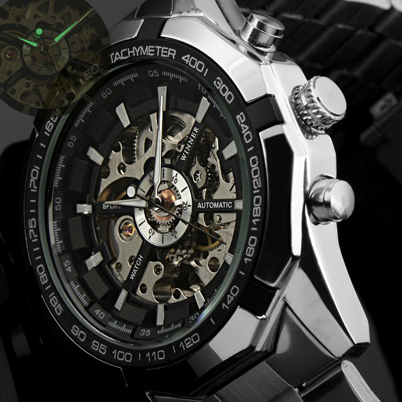 Winner Skeleton Clock Men Classic Sport Watch Automatic Mechanical Watch
