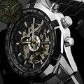 Vencedor Relógio Do Esporte Marca de Luxo Mens Automatic Skeleton Mechanical relógios de Pulso de Moda Casual Relogio masculino de Aço Inoxidável
