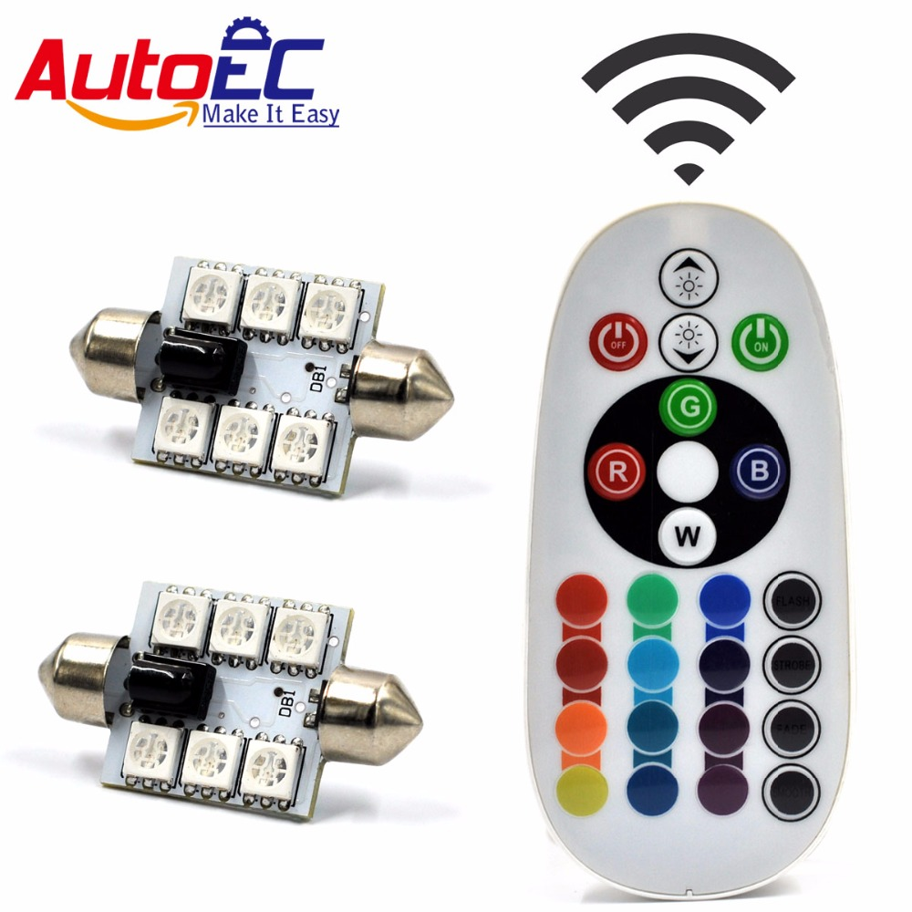 AutoEC 1set x Multicolor C5W Interior 41mm Car Festoon 5050 RGB 6 smd - Luces del coche